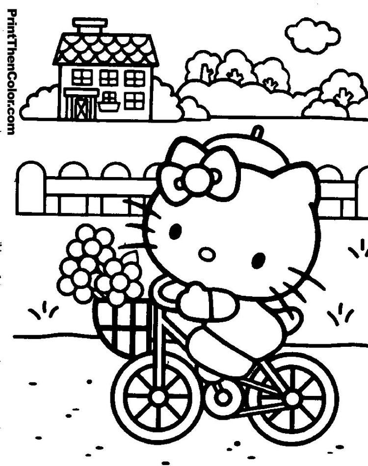 Hello Kitty Coloring Pages Riding Bike