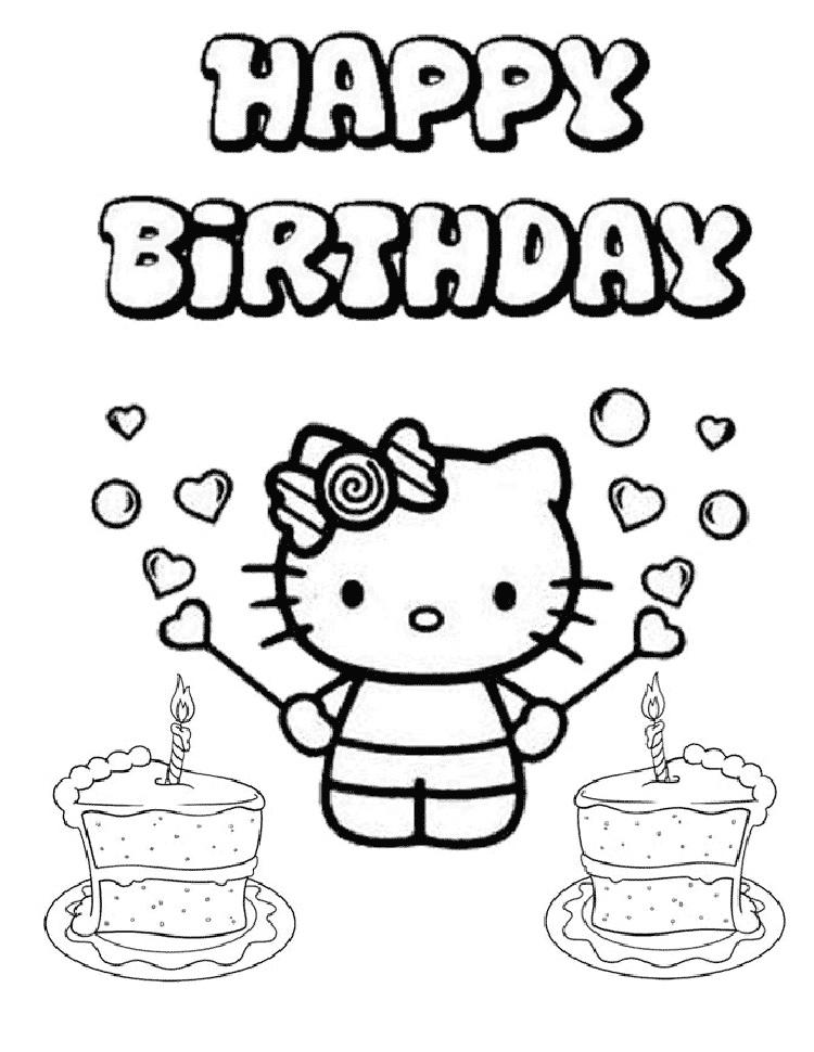 Hello Kitty Coloring Pages Says Happy Birthday