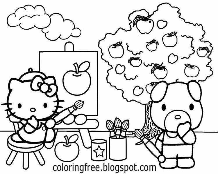 Hello Kitty Coloring Pages With Colors