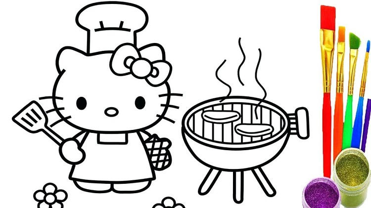 Hello Kitty Coloring Pages With Crayons