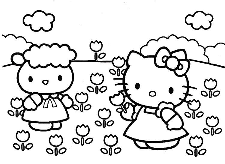 Hello Kitty Flower Coloring Pages