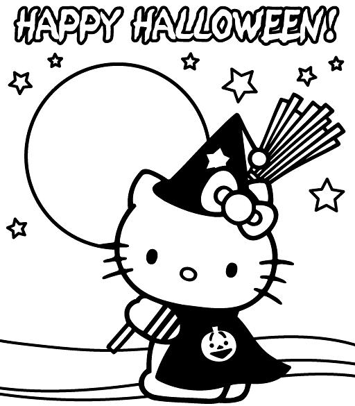 Hello Kitty Happy Halloween Coloring Pages Print