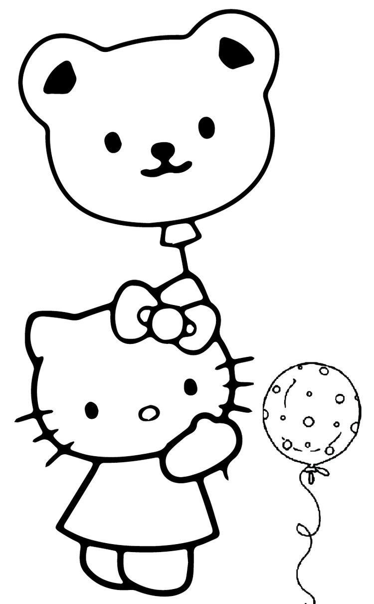 Hello Kitty Holding Balloon Coloring Picture