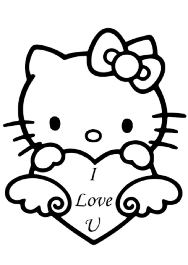 Hello Kitty I Love You Coloring Pages
