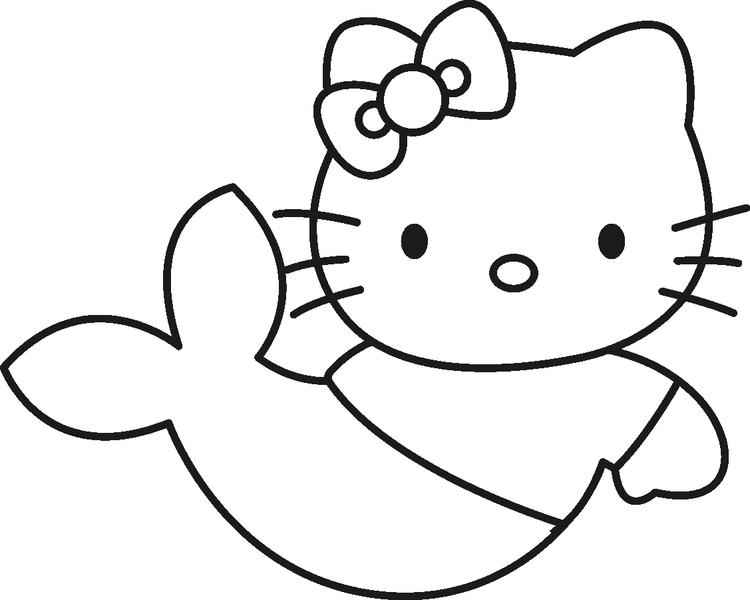 Hello Kitty Little Mermaid Coloring Page
