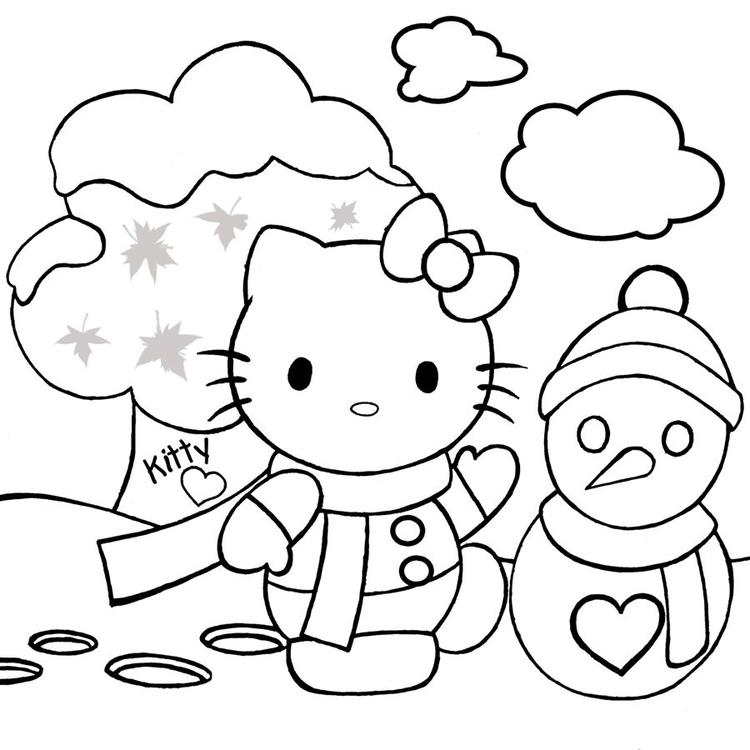 Hello Kitty On Snow Christmas Holiday Coloring