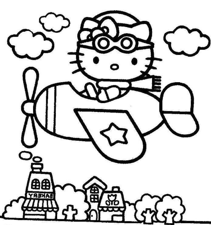 Hello Kitty Pilot Coloring Page