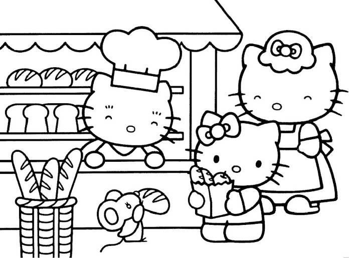 Hello Kitty Shopping Bread Coloring Pages
