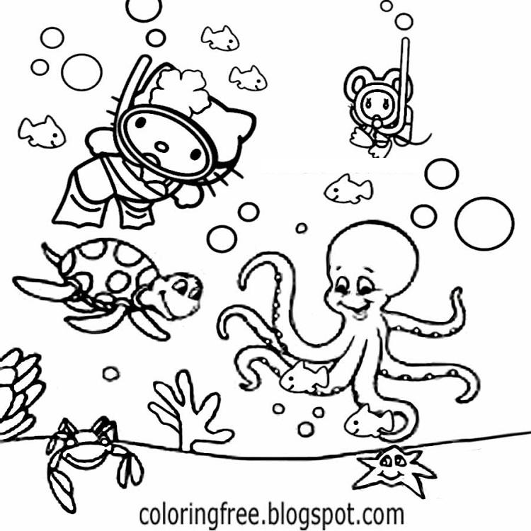 Hello Kitty Swimming Coloring Pages