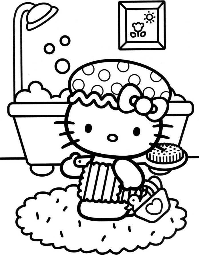 Hello Kitty Taking Bath Coloring Pages