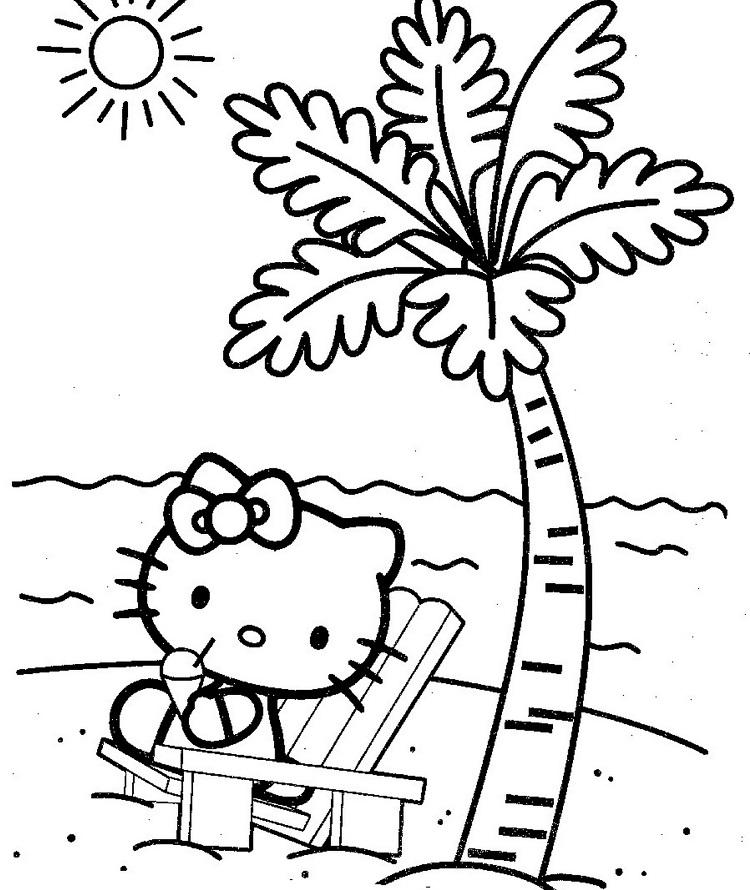 Hello Kitty Vacation Coloring Pages