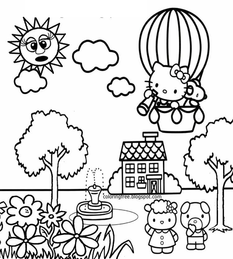 Hello Kitty With Balloons Coloring Pages