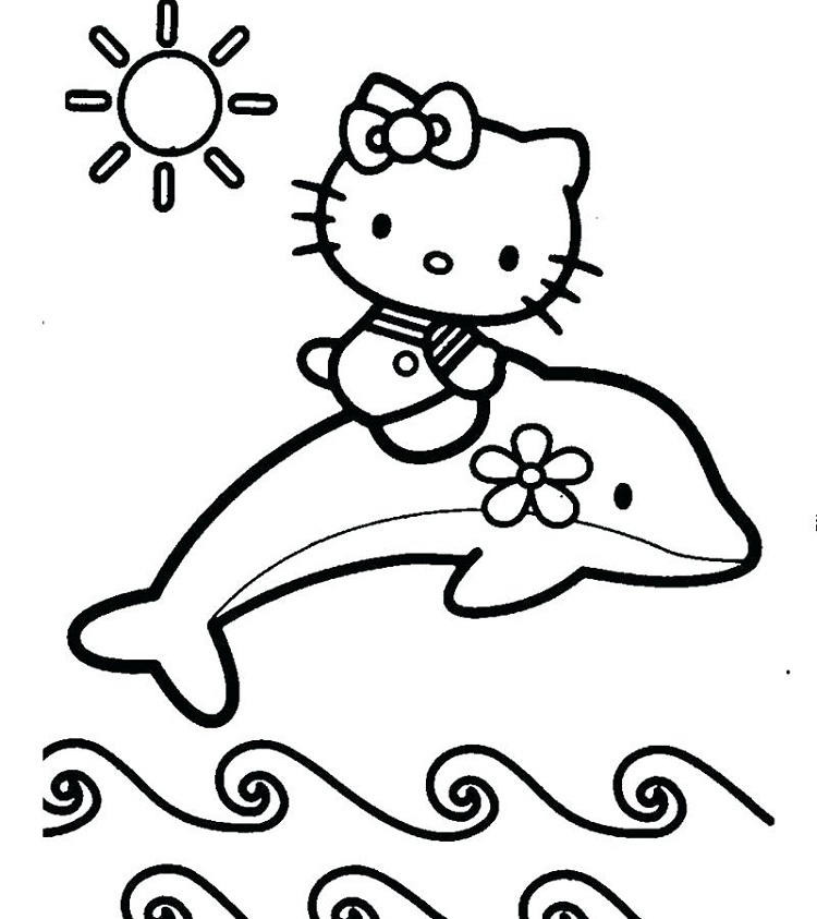 Hello Kitty With Dolphin Coloring Pages