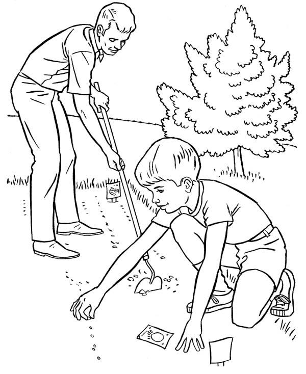 Helping Father Spring Gardening Coloring Pages