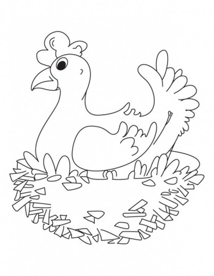 Hen Farm Animals Coloring Pages