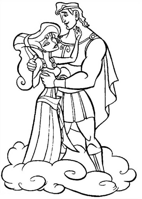Hercules And Megara Standing On Clous Coloring Pages