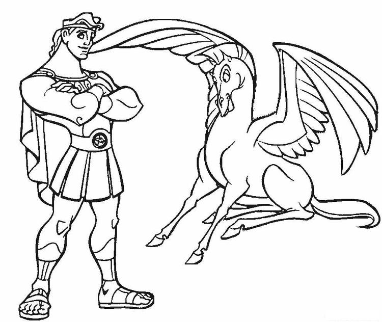 Hercules And Pegasus Coloring Pages