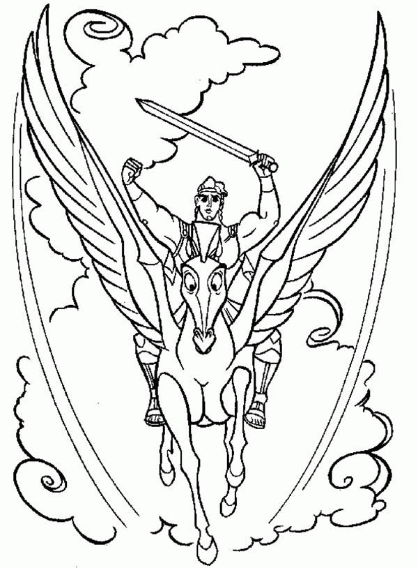 Hercules And Pegasus In Action Coloring Pages