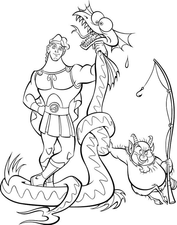 Hercules Beat A Dragon Coloring Pages