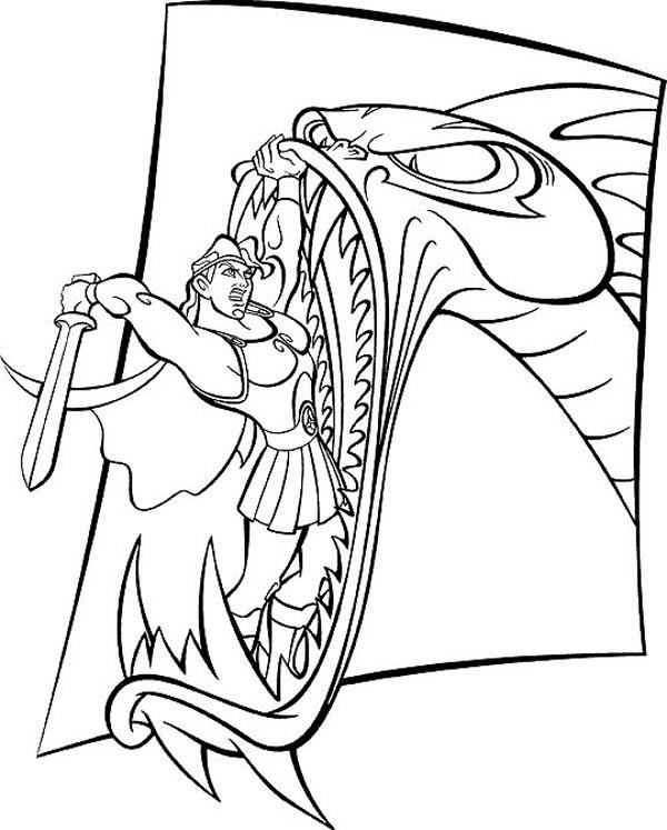 Hercules Fight With Ferocious Dragon Coloring Pages