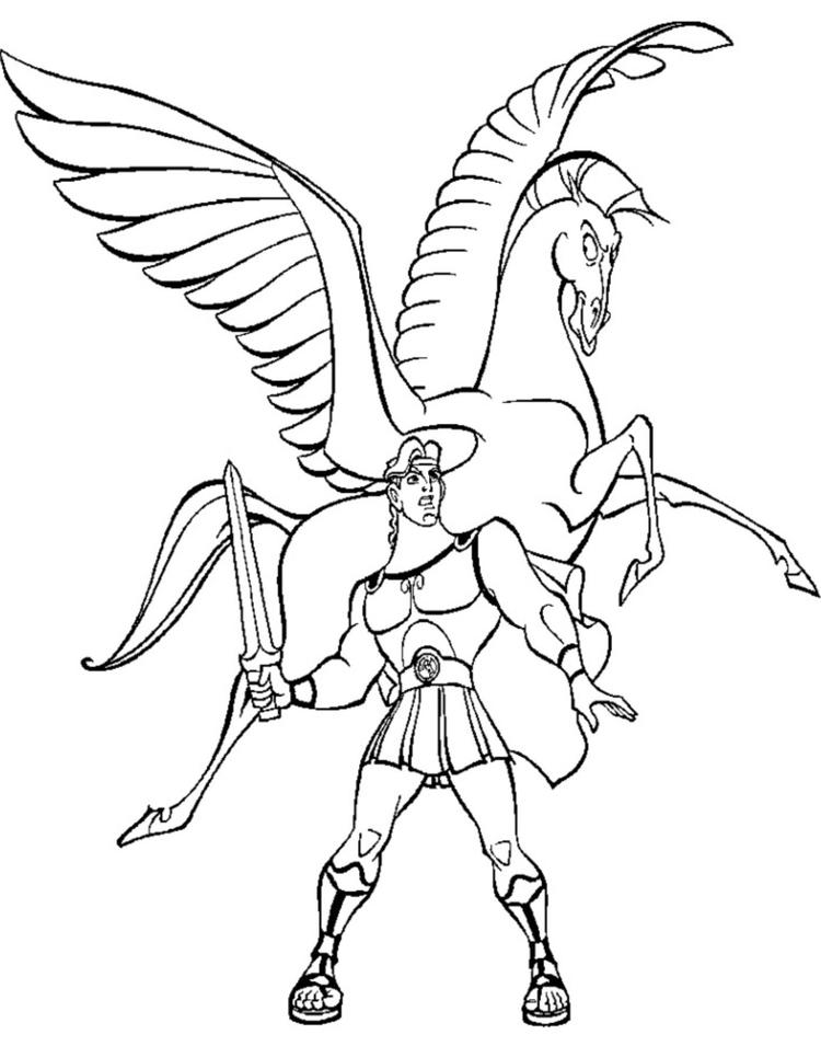 Hercules Fighting With Pegasus Cartoon Coloring Pages