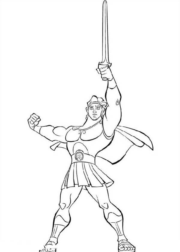 Hercules Lift His Sword High Coloring Pages