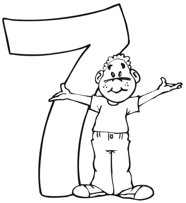 Here Comes Number 7 Coloring Page