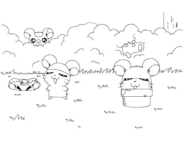 Hide And Seek Hamtaro Coloring Pages