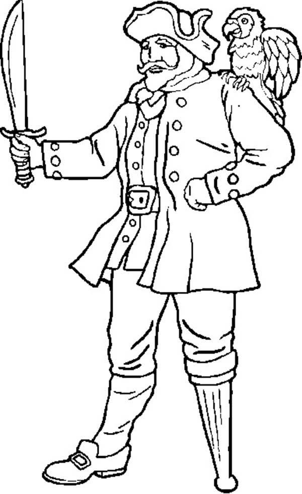 Hideous One Legged Pirate Coloring Pages