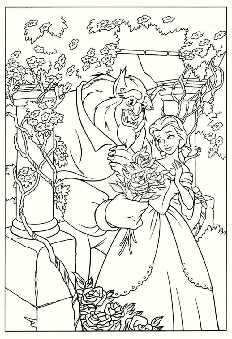 High Resolution Beauty And The Beast Coloring Page