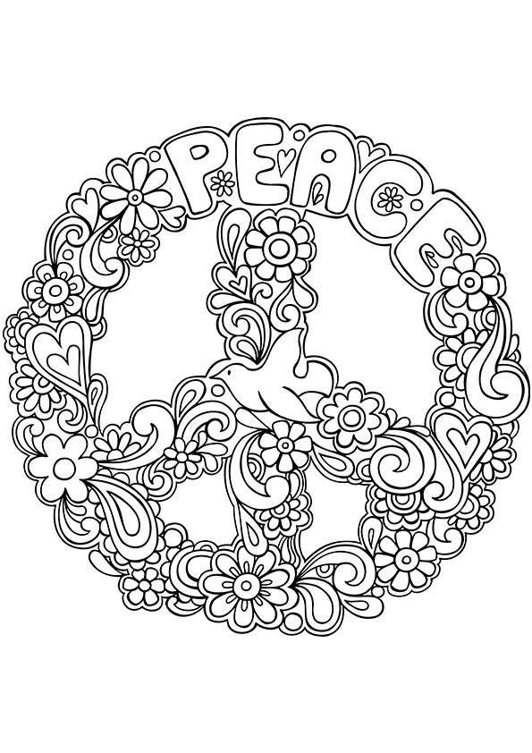 Hippie Coloring Pages Peace Sign