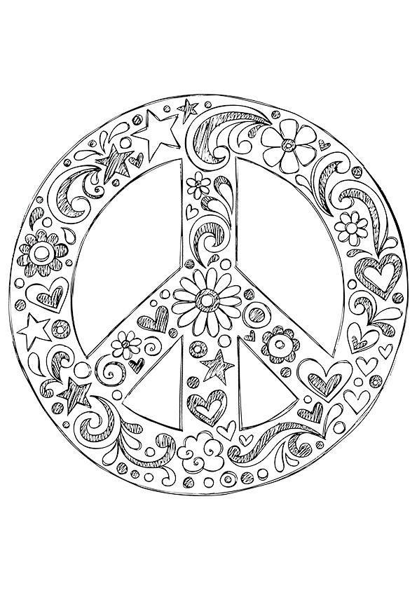 Hippie Coloring Pages Peace Symbol