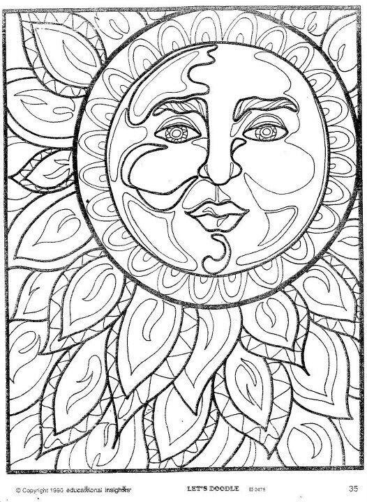 Hippie Coloring Pages The Sun