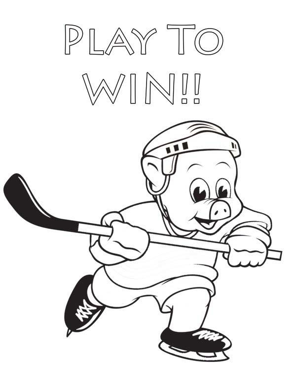Hockey Player Piggly Wiggly Coloring Pages