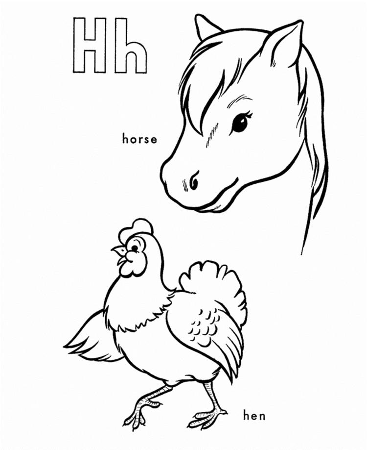 Horse And Hen Alphabet Coloring Pages Printable