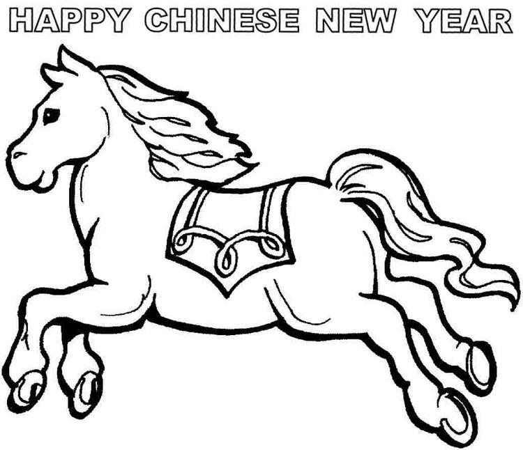 Horse Coloring Pages Chinese New Year