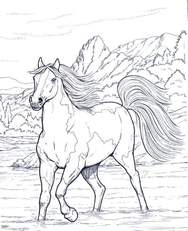 Horse Coloring Pages Cross The River