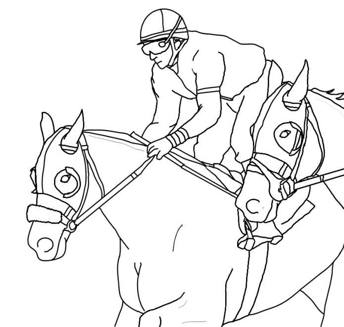 Horse Racing Animal Coloring Page