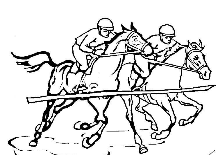 Horse Racing Coloring Pages