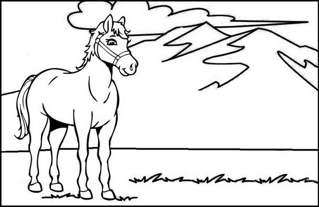 Horse With Mountain Scenery Coloring Page