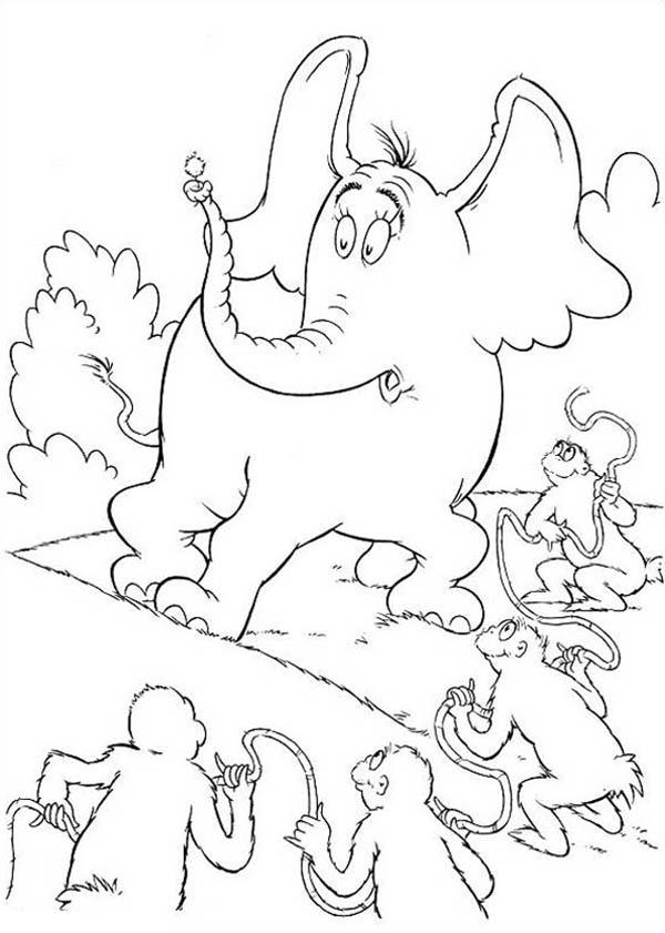 Horton Hears A Who Surrounded By The Wickershams Coloring Pages