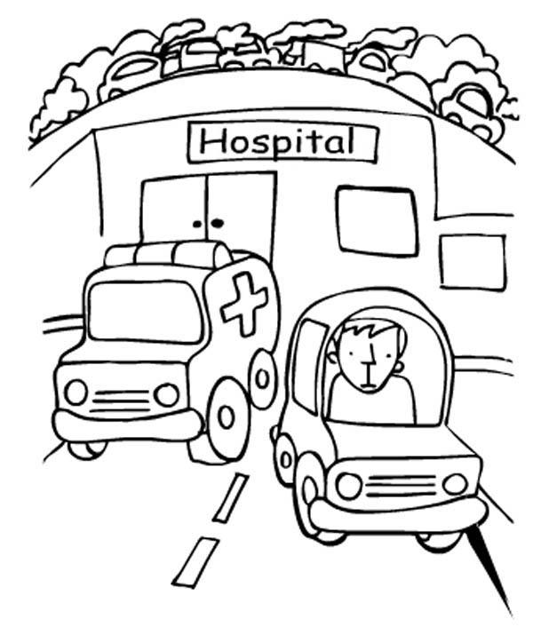 Hospital Ambulance Coloring Pages