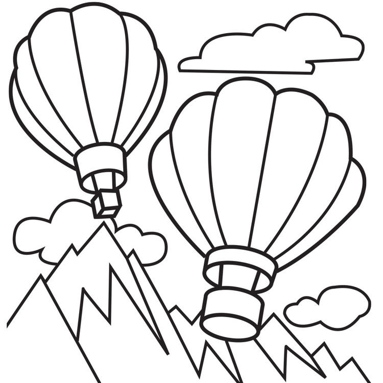 Hot Air Balloon Coloring Pages Flying Above Mountains