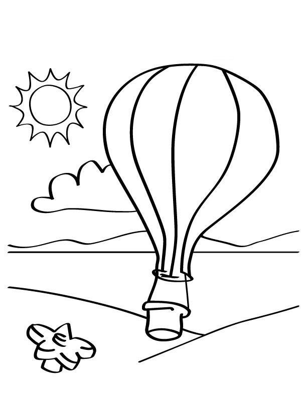 Hot Air Balloon Coloring Pages Flying Above The Beach