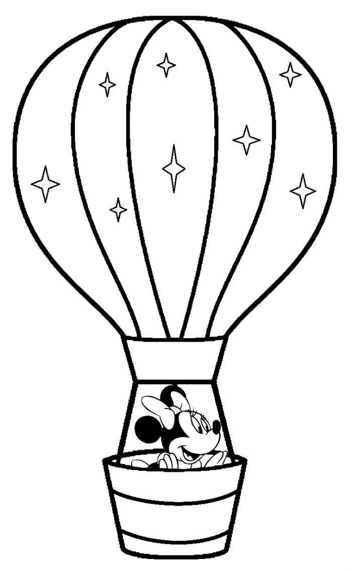 Hot Air Balloon Coloring Pages Minnie Mouse