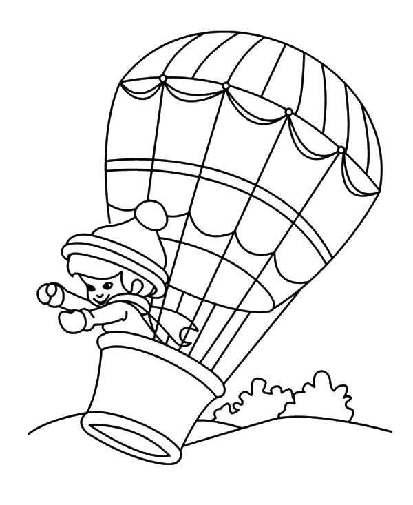 Hot Air Balloon Coloring Pages With Girl Inside