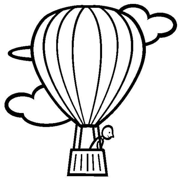 Hot Air Balloon Looking Down Coloring Pages