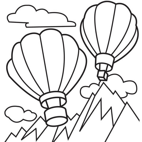 Hot Air Balloon Over Top Of Moutain Coloring Pages