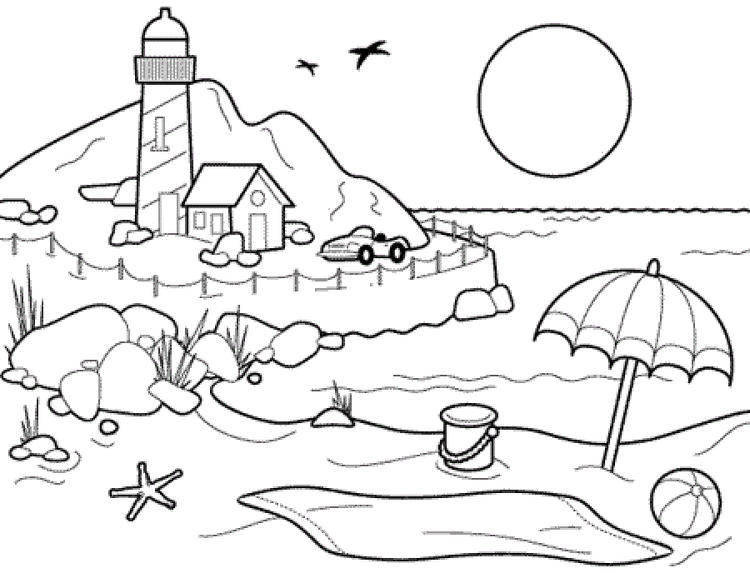 Hot Summer Beach Coloring Pages Printable For Preschoolers