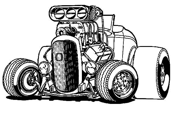 Hot Wheels Coloring Pages Big Hotrod Car